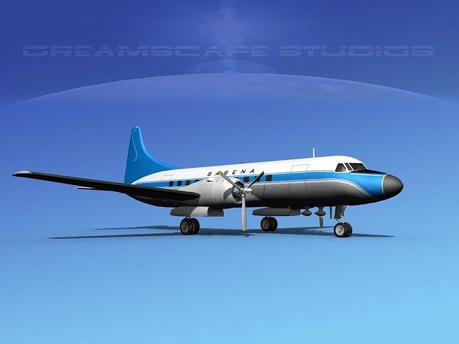 convair cv-340  sabena 3d model max obj 3ds lwo lw lws dxf stl 1