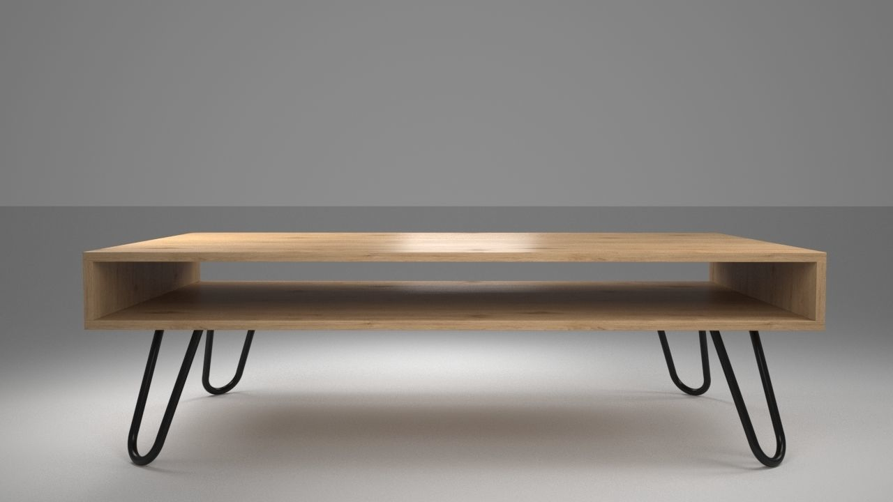 - Coffee Table With Bare Steel Hairpin Legs 3D Model