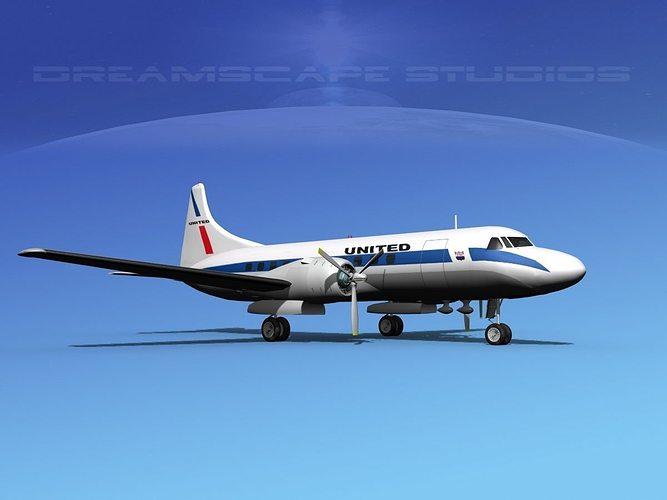 convair cv-340 united airlines 3d model max obj mtl 3ds lwo lw lws dxf stl 1