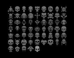 3D asset 59 Simple Skull Shapes