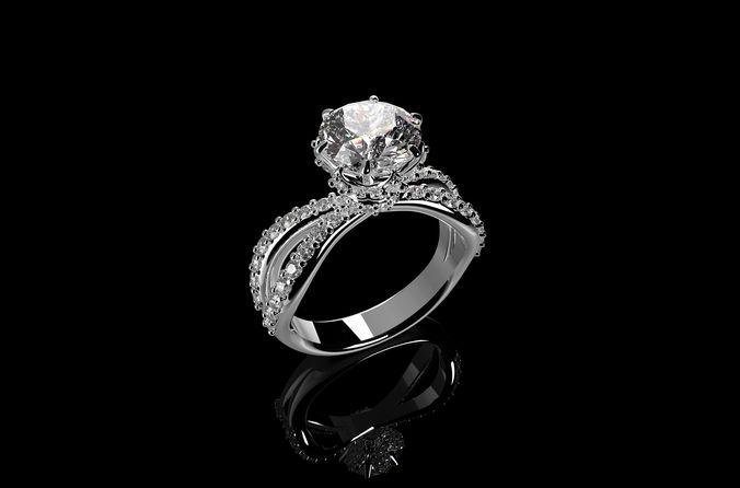 3D Printable Model Solitaire Diamond Engagement Rings N6