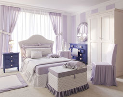 Bedroom set 3D model Leonard Dolfi cupboards