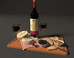 3D model plate with wine and cheese