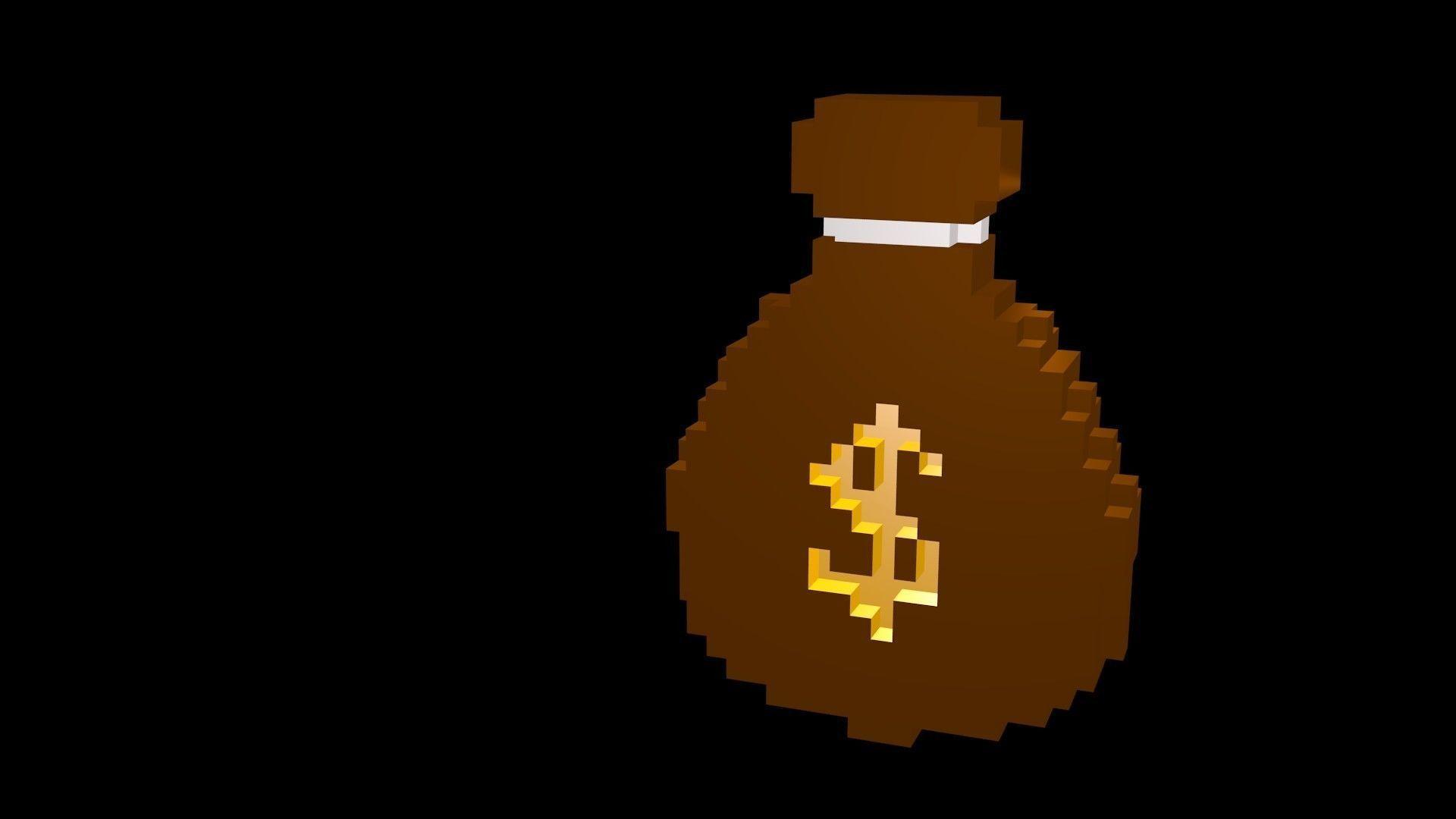 Symbols of money voxel