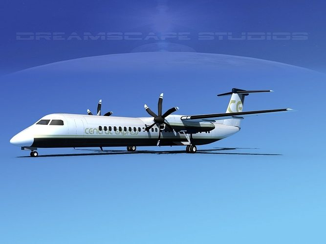 dehaviland dhc-8 400 central express 3d model max obj 3ds lwo lw lws stl 3dm 1