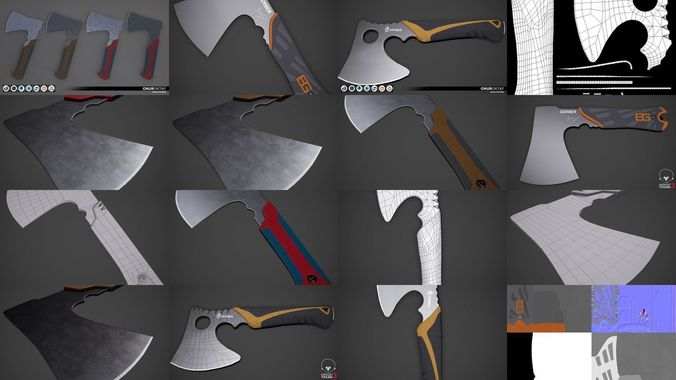 hatchet axe pack - modern 3d model max obj mtl 3ds fbx 1