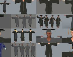 Academic Gown Graduate Collection 3D models