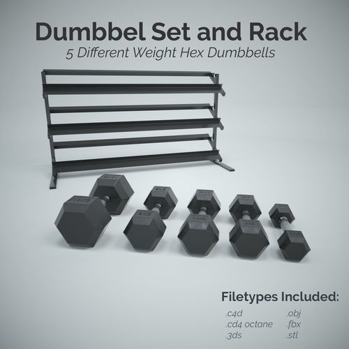 hex dumbbell set and rack 3d model low-poly obj mtl 3ds fbx c4d dxf stl 1