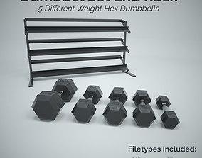 Hex Dumbbell Set and Rack 3D asset