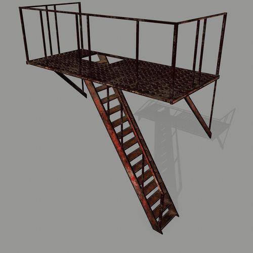 fire escape 3d model low-poly obj mtl 1