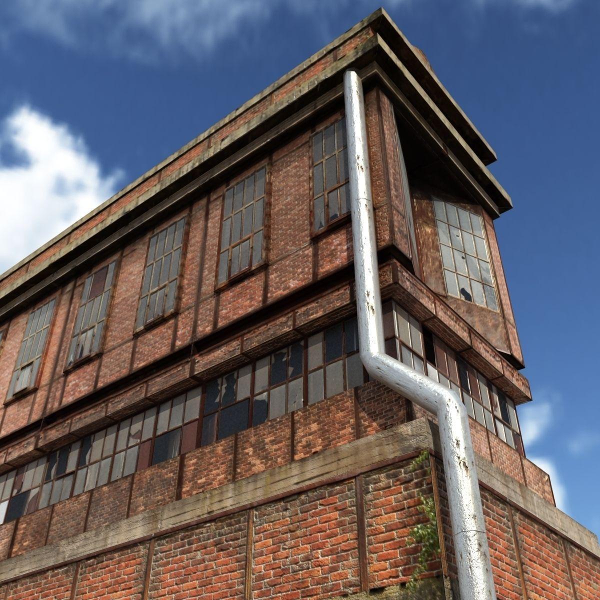 Factory low poly building 3d model 3d model max obj for 3d max building