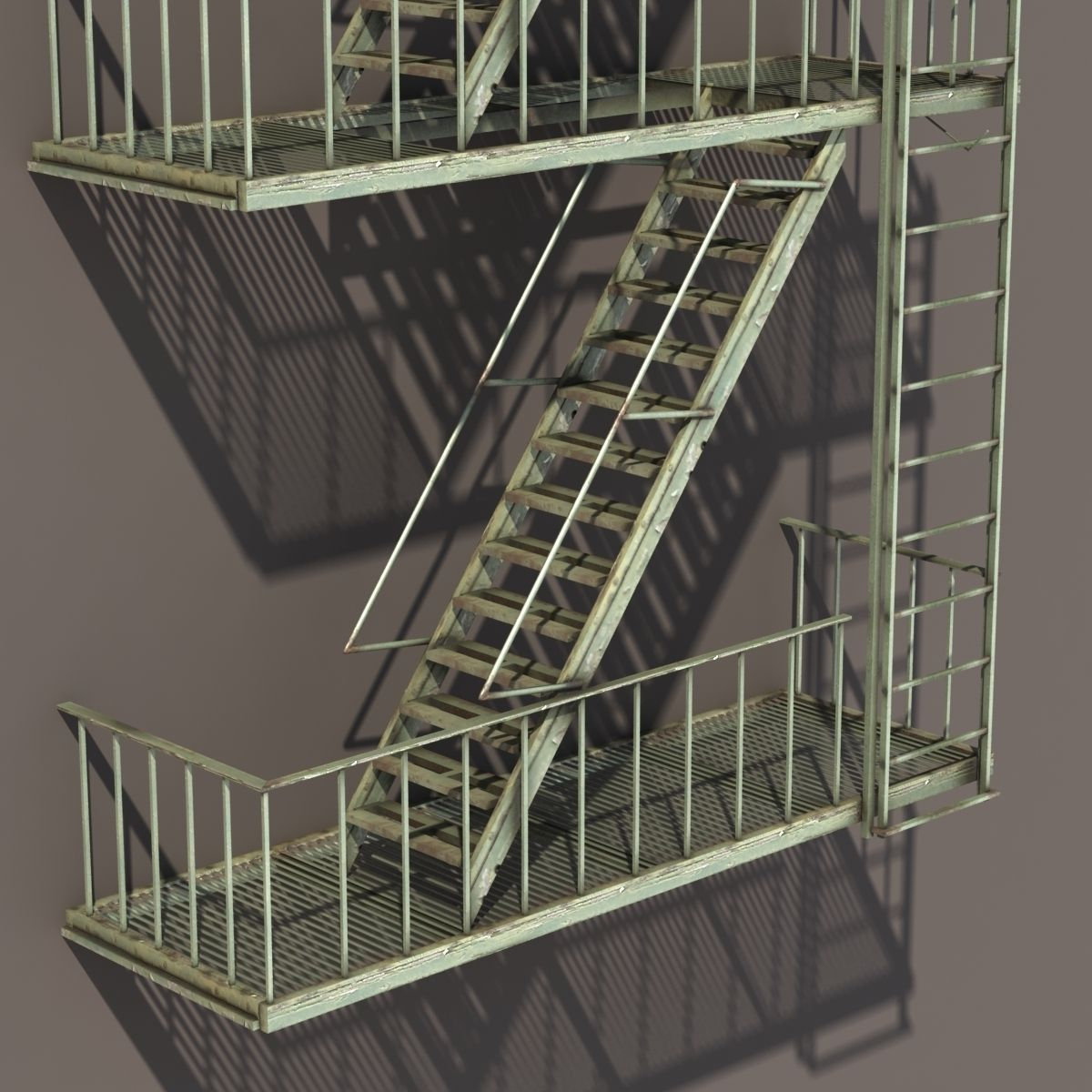 Genial Fire Escape Stairs Low Poly 3d Model Low Poly Obj Mtl 3ds Lwo Lw Lws ...