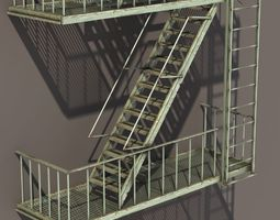 3d model fire escape stairs low poly realtime