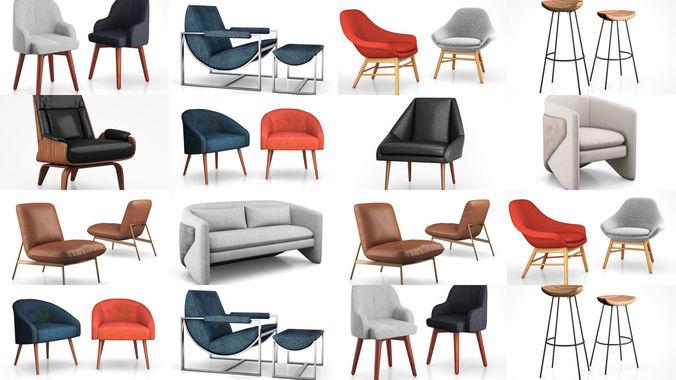 west elm cozy chairs collection 3d model max obj mtl 3ds tga 1