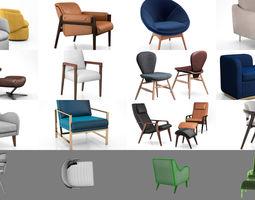 3D model West Elm elegant interior chairs