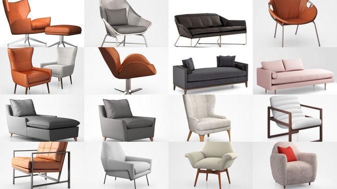 west elm chairs  3d model max obj mtl 3ds tga 1