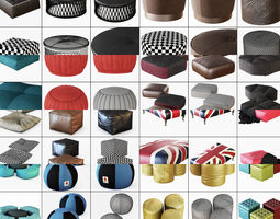 3D model Collection of puffs with wool 41 pieces