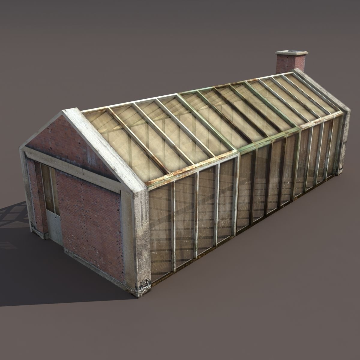 Greenhouse Old Low Poly 3d Model