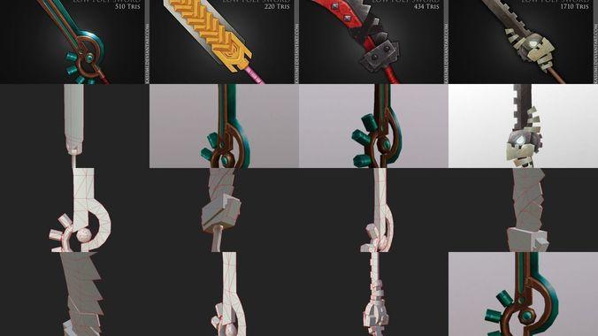 stylized swords 3d model obj mtl 3ds fbx blend tga 1