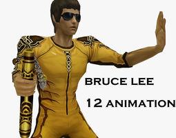 Bruce Lee Kung Fu nunchukus fight 3D asset animated