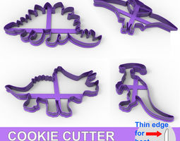 COOKIE CUTTER 4 DINOSAURS PACK 3D print model