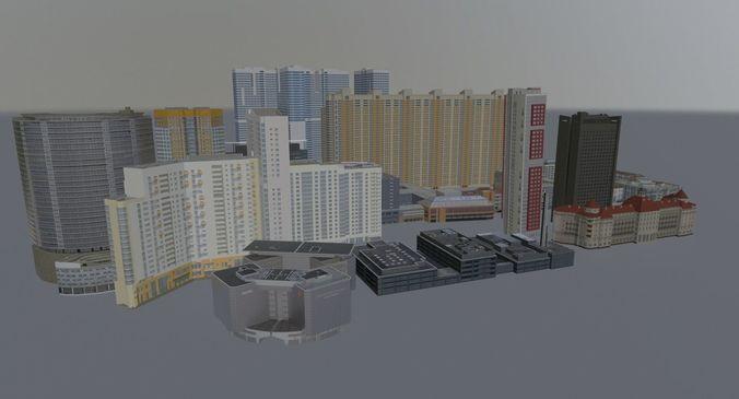 high rise buildings pack 3d model low-poly max obj mtl 3ds fbx 1