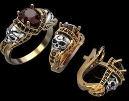 Skull Engagement Ring and Earings 3D