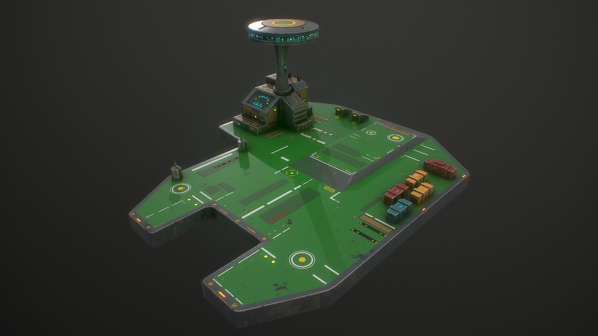 Low poly sci fi airport environment asset | 3D model