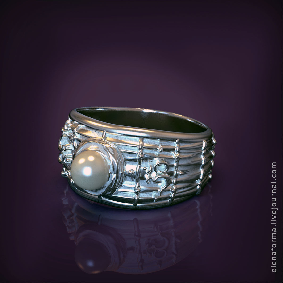 The Om mantra ring with pearl and video