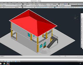 Private house project with terrace 3D