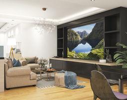 design living room and kitchen room 3D