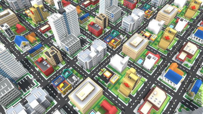 voxel city 3d model low-poly obj mtl 1