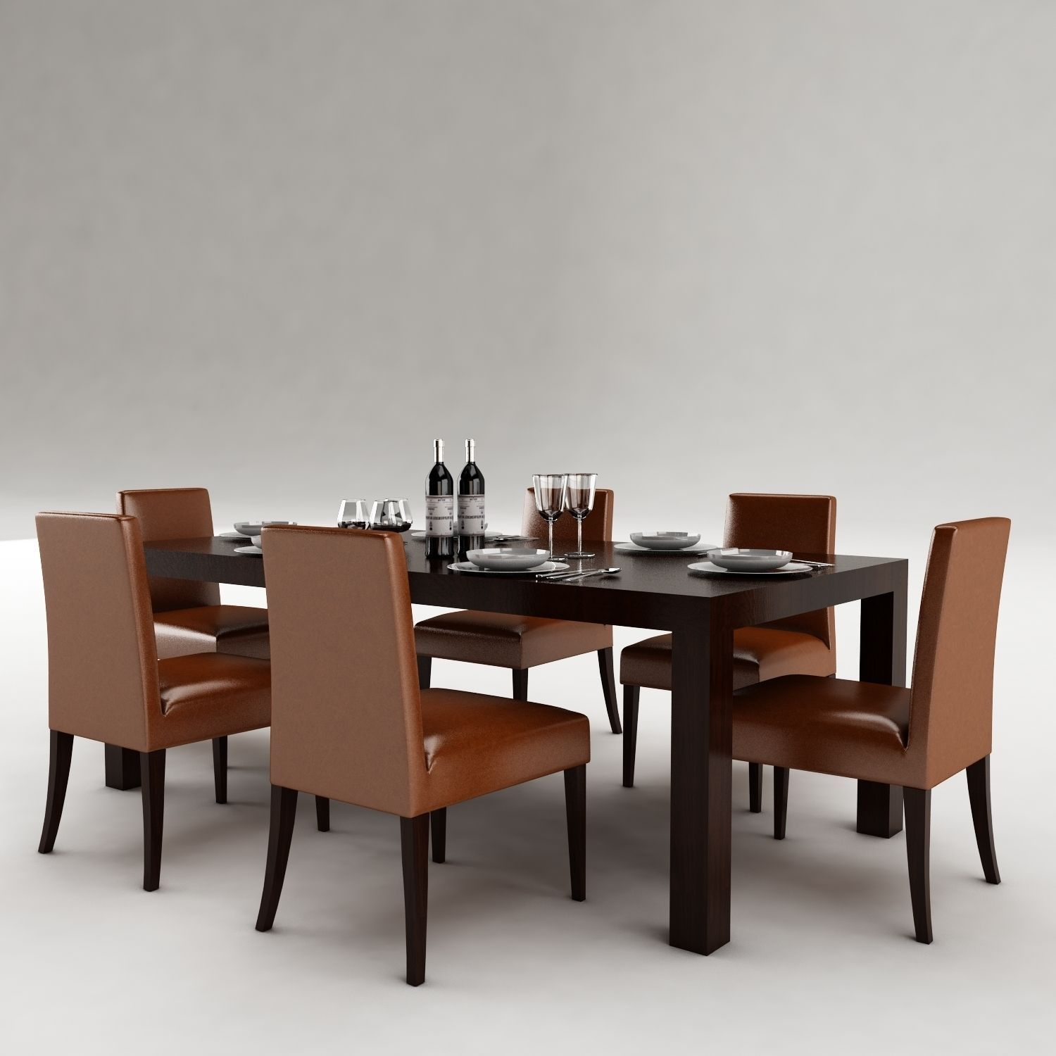 Dining table 53 3d model max obj 3ds fbx for Dining table models