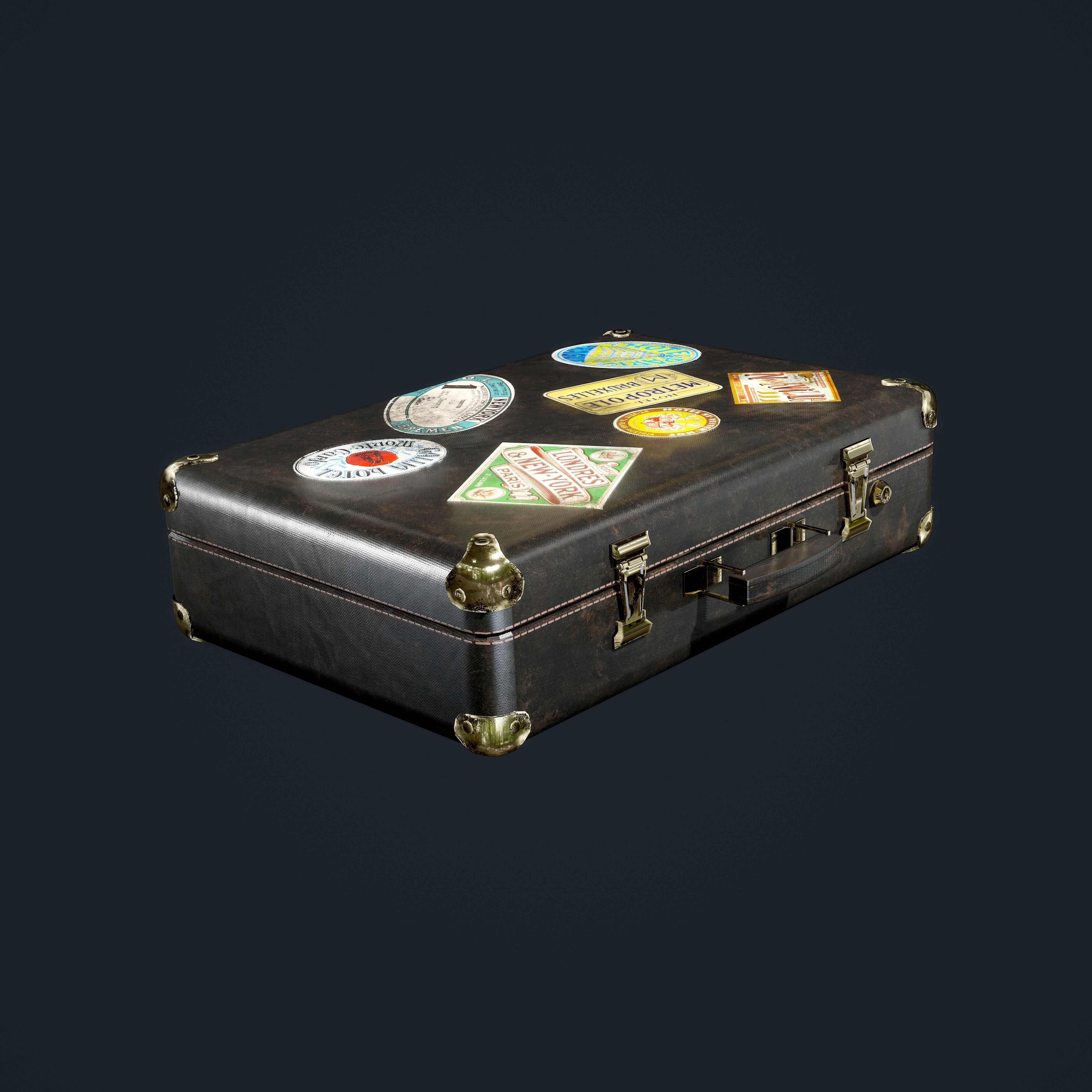 Leather Suitcase Luggage Low Poly Game Ready