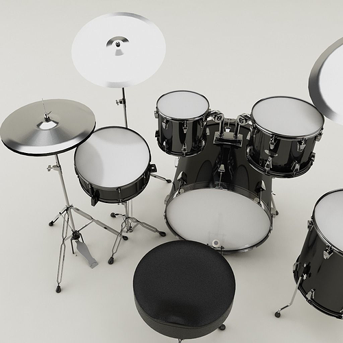 drum set 001 3d model max obj 3ds fbx 1