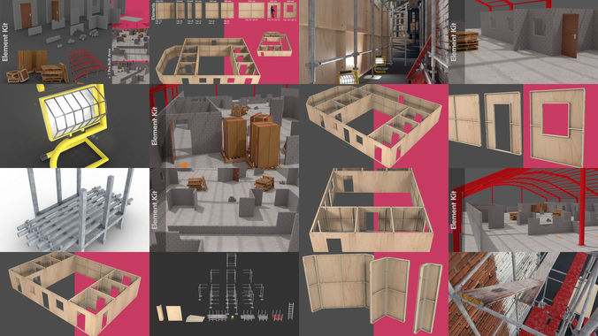 construction scaffold and building site 3d model max fbx blend 1