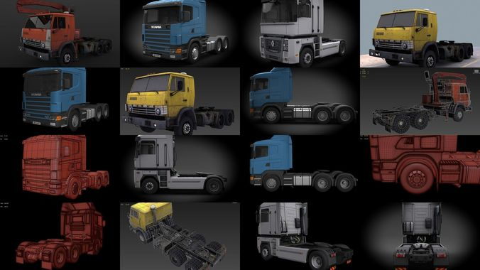 semi trucks 3d model max obj mtl 3ds fbx tga 1