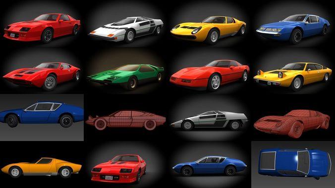 classic sports cars 3d model max obj mtl 3ds fbx stl dae 1