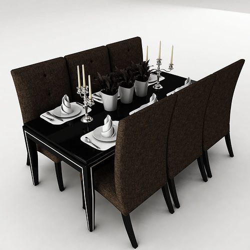 Dining table dining room set 3d model cgtrader for Dining room table 3ds max