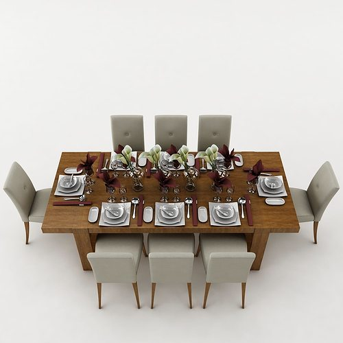 3d dining table dining table cgtrader for Dining room table 3ds max