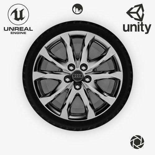 19 år rim Wheel Steel Chrome Alloy Rim Audi 19 inch 3D asset 2 19 år rim
