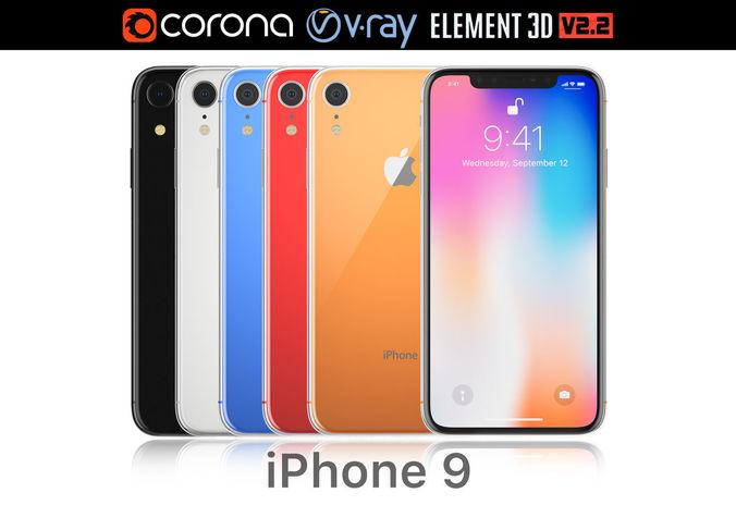 apple iphone xr all colors 3d model max obj mtl 3ds mat 1