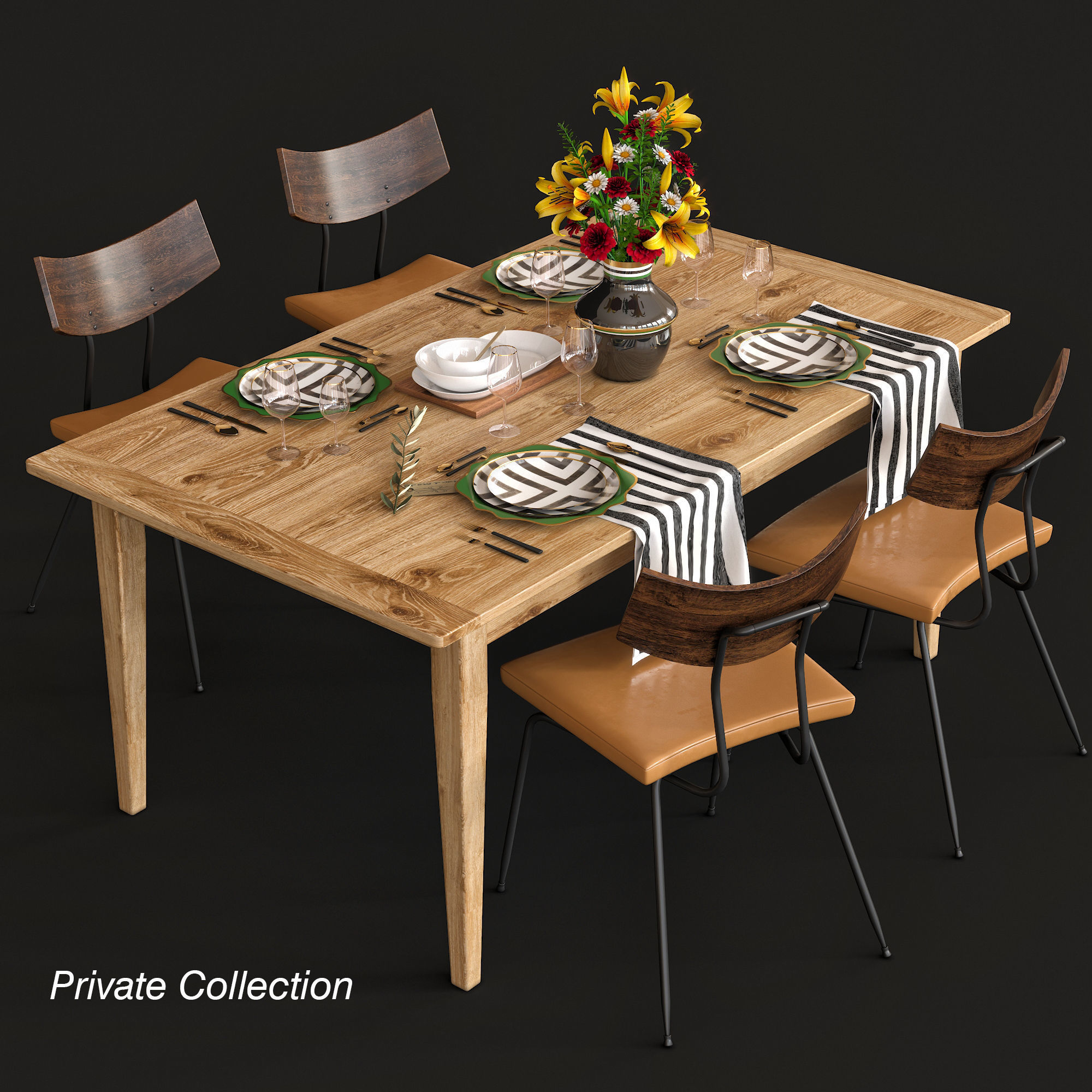 Dining table and chairs and serving