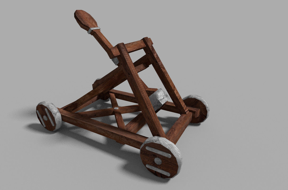 low poly medieval catapult