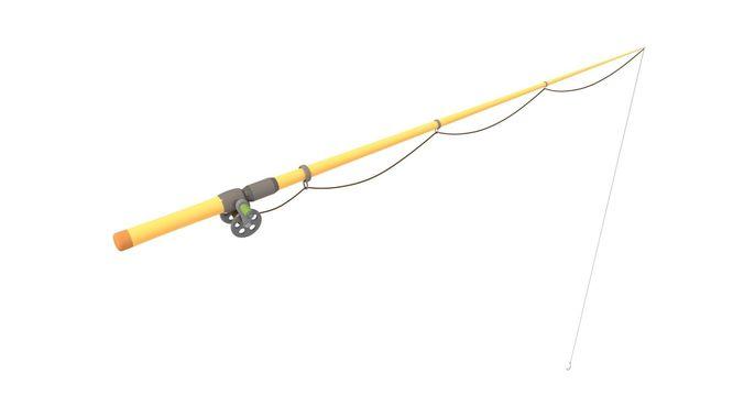 fishing pole rigged 3d model rigged obj mtl fbx stl x3d 1