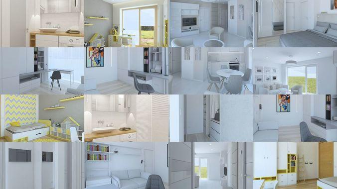 simple pack of interior sets 3d model obj mtl 3ds fbx skp 1