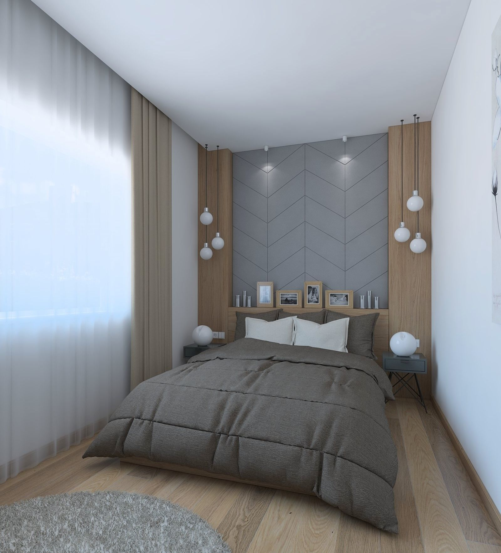 3d nice bedroom with wood and leather decor  cgtrader