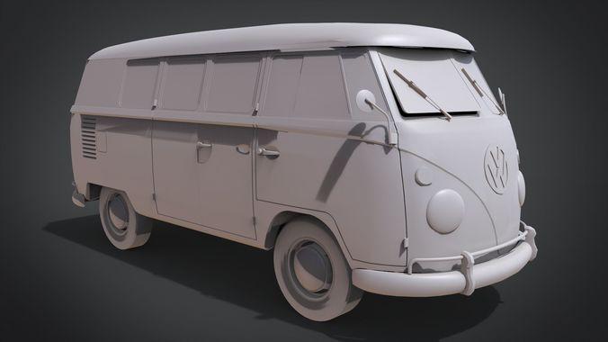 volkswagen type 2 kombi t1 1967 3d model obj mtl fbx stl blend x3d ply 1