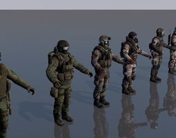 Pack of 8 soldiers army man 3D model
