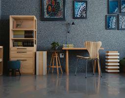 comfortable study room 3D